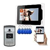 El timbre video de WiFi, APP Tuya de 7 pulgadas desbloquea el teléfono video de la puerta de la visión nocturna 1080P, intercomunicador,1 camera + 1 display