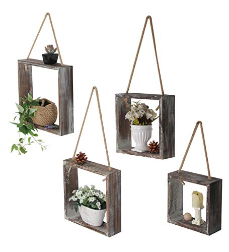J JACKCUBE DESIGN Floating Hanging Square Shelves Wall Mounted Rustic Wood Cube Display Shelf Shadow Boxes Decorative Boho Home Décor for Living Room, Bedroom, Office, Set of 4 - MK571A