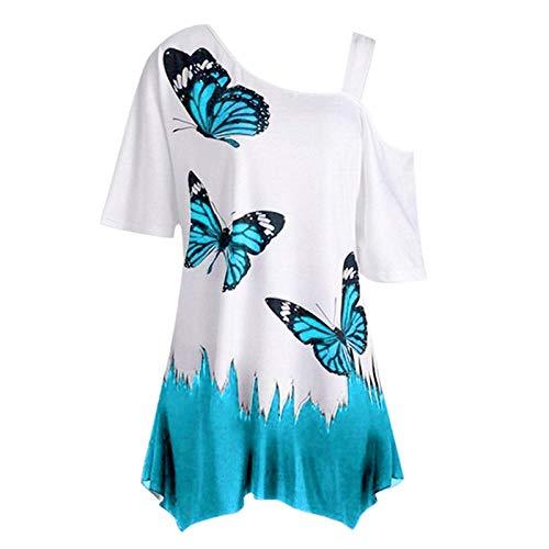 TITIU Mode Damen Casual Kurzarm Skew Neck Trägerlosen Blumendruck T-Shirt Tops Oberteil Bluse Tees