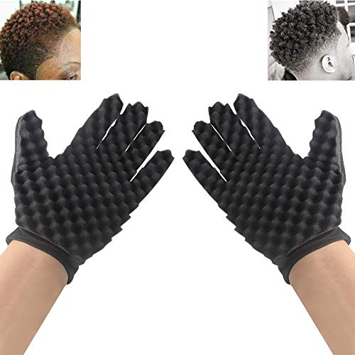 INTVN 2 Pc 2 en 1 Double Magic latera Mode Curls Coil Magia Herramientas onda Barber Cabello Cepillo Esponja Negro lockenwickler Guantes, color negro