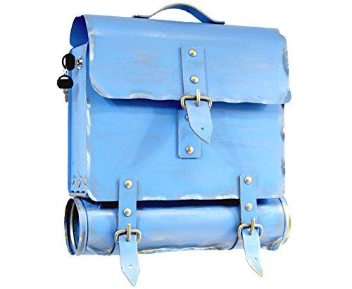 Wamat außergewöhnlich Briefkasten Postkasten rostfreier Stahl echte Schmiedekunst blau