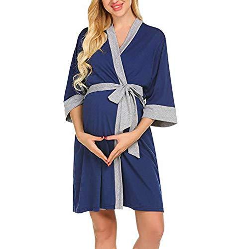 Webuyii Bata de maternidad de enfermería 3 en 1 de parto de parto de enfermería camisón de hospital, lactancia materna albornoces