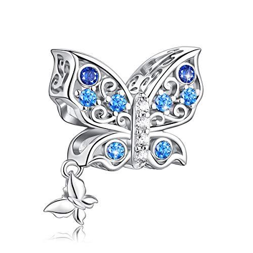 FOREVER QUEEN Schmetterling Charms fit Charms Armband 925 Sterling Silber Schmetterling Mum Herz Charm Bead Charms Anhänger für Armband und Halskette Schmuck, Perfektes Muttertagsgeschenk