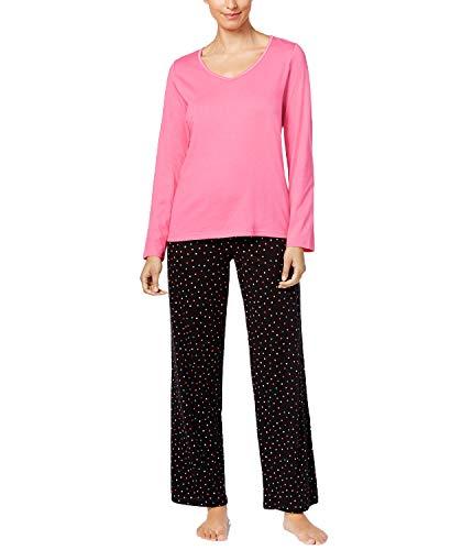Charter Club Graphic Top & Printed Pants Pajama Set (Multi Dot, S)