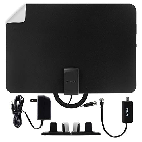 Philips Amplified Indoor TV Antenna, Reversible Black White Finish, Long Range Digital HDTV Antenna, Smart TV Compatible, 4K 1080P VHF UHF, 10ft. Coaxial Cable Included, Signal Booster, SDV7112A/27
