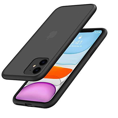 Miracase dünne 11 Handyhülle, kompatibel mit iPhone 11 Hülle, Hülle halb durchsichtige 6.1 Zoll Schutzhülle TPU mit weicher Silikon Stoßstange für iPhone XI 11r Mattschwarz 2019