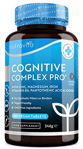 Cognitive Complex Pro - with Zinc, Iron, Magnesium, Pantothenic Acid, Vitamin B6, Iodine - for Normal Cognitive Function - 180 Vegan Tablets— Made in The UK by Nutravita