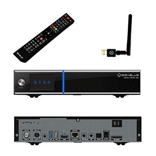 GigaBlue Trio UHD 4K Box SAT-Receiver schwarz Linux DVB-S2x DVB-C2 DVB-T2 Tuner inkl. NA-Digital 300Mbit WLAN Stick Slot,2160p,PVR,HDMI,SD-Card