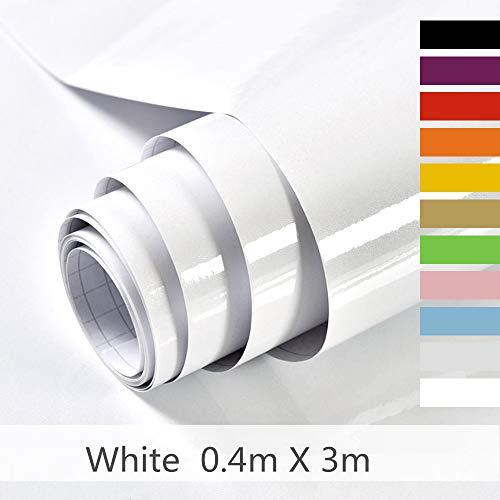 Hode Selbstklebende Folie Dekorfolie Klebefolie für Möbel Küche Oberflächenschutz Wasserdicht Vinyl Weiß 40cmX300cm Mit Glitzer