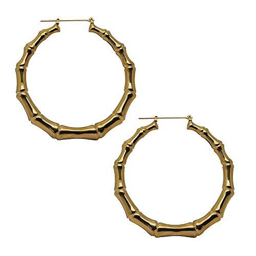 Tumundo® 1 Paar XXL Creolen Hoops Klappcreolen Ohrringe Ohr Golden Silbern Hip Hop Knochen Bones Fasching Pirat, Variante:5.5cm - golden