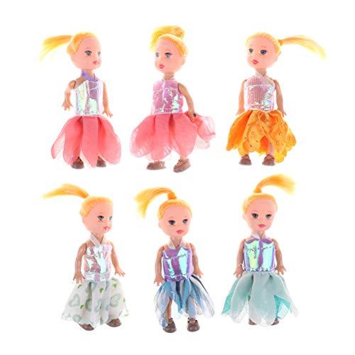 XKMY Barbie Doll 2 unids/lote carttoon muñecas niños regalo niñas cumpleaños pequeña muñeca para muñecas Kelly 3.5 pulgadas juguetes para muñecas Barbie juguetes niños (color: color mezclado al azar)