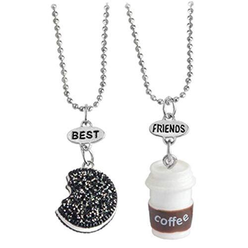 DINEGG Mejores Amigos Collares Resina Taza de café Colgante Gargantilla Cadena para Hombres Mujeres 1 Set QQQNE