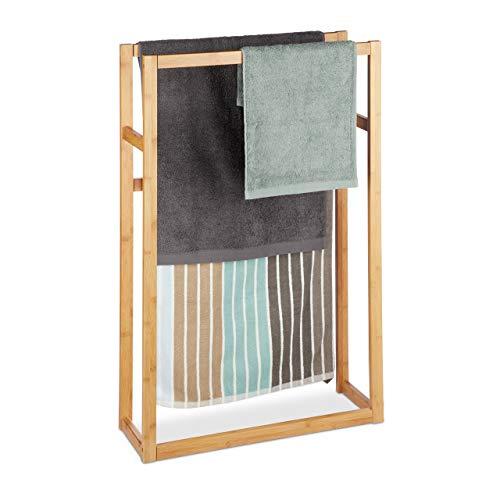 Relaxdays, Natur Handtuchständer Bambus, Standhandtuchhalter, Badetuchständer, stehend, H x B x T: ca. 90 x 60 x 20 cm