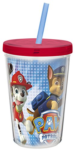 Insulated Tumbler with Screw-on Lid and Straw featuring Paw Patrol Graphics, Break-resistant and BPA-free Plastic, 13 oz.