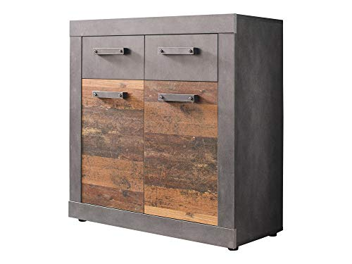 Newfurn dressoir commode industriële dressoir highboard multifunctionele kast II 82x86x 37 cm (BxHxD) II [Jamell.one] in grafiet grijs Matera/Old Wood woonkamer slaapkamer eetkamer