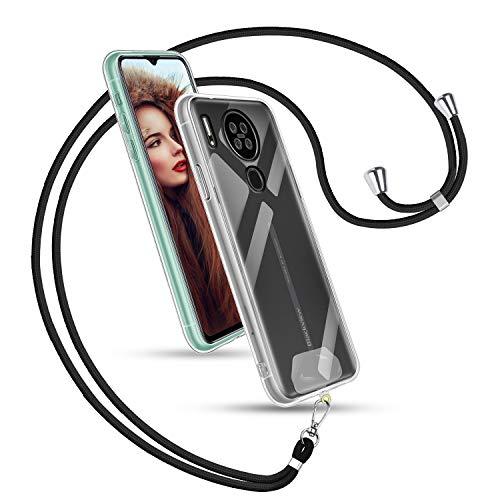 Universale Handykette + Transparent TPU Hülle für Blackview A80, Handyhülle zum Umhängen - Unisex Schlüsselband Handy Ausziebar Karabinerhaken für Alle Handys -Schwarz Kordel
