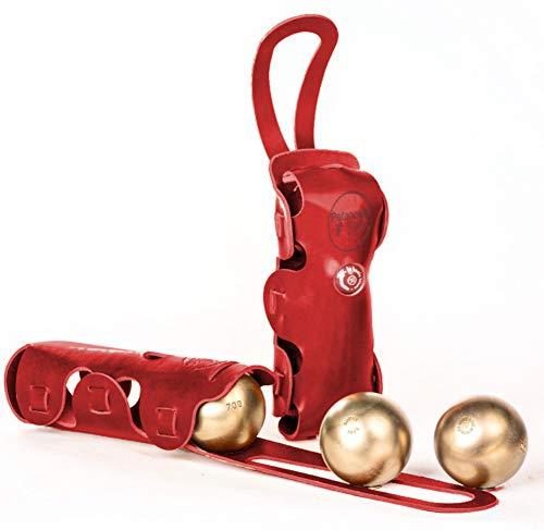 La Bouclée, sacoche rigide en cuir, avec poignée, coloris Rosso