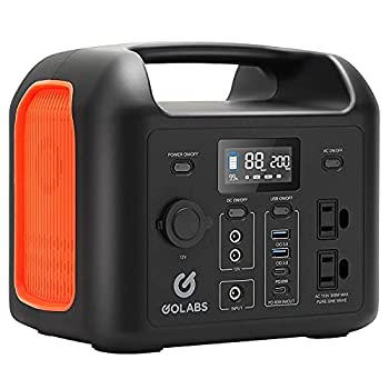 GOLABS Portable Power Station 299Wh LiFePO4 Battery Backup PD 60W Type-C Quick Charge 300W Pure Sine Wave AC Outlet Solar Generator Power Supply for Outdoor Camping Fishing Travel Emergency CPAP  Orange