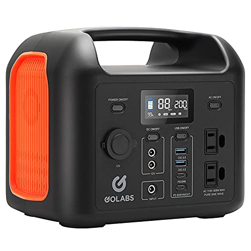 GOLABS Portable Power Station R300, 299Wh LiFePO4 Battery Backup, PD 60W Type-C Quick Charge, 300W Pure Sine Wave AC Outlet Solar Generator Power Supply for Outdoor Camping Fishing Travel Emergency CPAP (Orange)