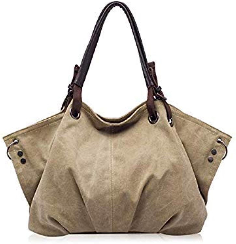 Bloomerang High Capacity Women's Canvas Handbags High Quality Female Hobos Single Shoulder Bags Vintage Solid Multi-Pocket Ladies Totes color Light Khaki 42cm 50cm 13cm