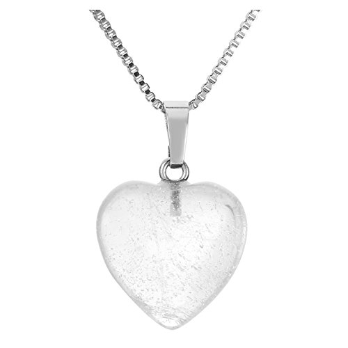 Jovivi Ciondolo da donna a forma di cuore con pietre preziose per terapia energetica e cristallo, 50,8 cm e Rame, colore: cristallo di rocca, cod. AJDE6283