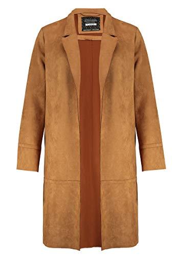 Sublevel Damen Mantel aus Veloursleder-Imitat Offen Brown XL