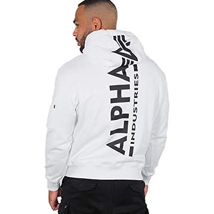 Alpha Industries Sudadera con capucha y estampado en la parte trasera blanco S
