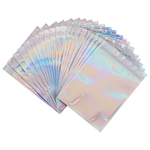 100 Pack Smell Proof Bags - 6x8 Inches Reclosable Mylar Bags Resealable Clear Ziplock Holographic Rainbow Color