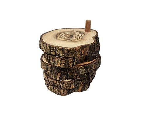 AramediA Runde Untersetzer aus Olivenholz, handgefertigt, dekorativ, tunesische Handwerkskunst für Kaffee, Tee, Café, Mokka und Latte, 6 Stück, Ständer für Zuhause und Büro