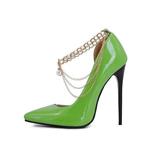 TYX Tacones Altos Damas, Punta Puntiaguda Charol Bombas, Cadena De Metal Zapatos Color Sólido, Tacones Súper Altos Elegante Sexy,Verde,47