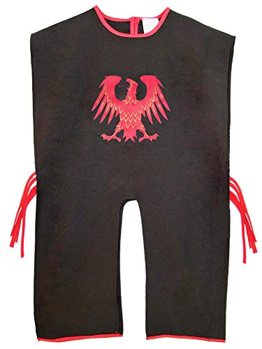 Das Kostümland Ritter Tunika für Kinder mit Wappen Adler Schwarz Rot