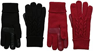 Isotoner Women's Solid Triple Cable Knit smarTouch Gloves, Black / Really Red 2 Pack, One Size