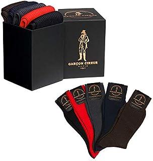 2985364d5d0b6 5 paires de chaussettes 100% fil d'Ecosse, Noir, Marron, Marine