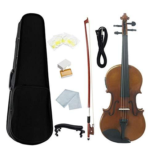 LOIKHGV 4/4 Elektroakustisches EQ-Geigen-Geigen-Kit in voller Größe Massivmattes Fichten-Frontbrett 4-saitig mit Gehäuse Kolophoniumkabel, Retro-Braun