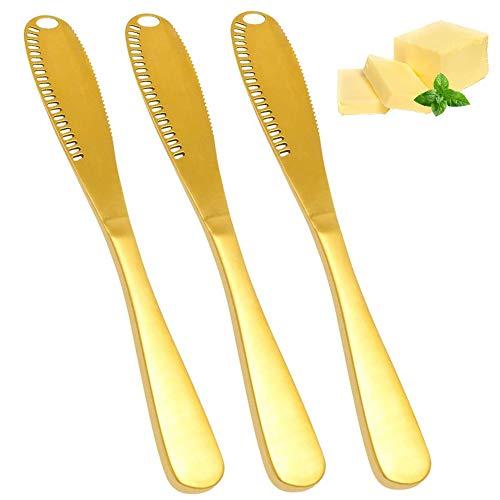 3 Piezas Cuchillo de Mantequilla 3 en 1 Cuchillo esparcidor de mantequilla de acero inoxidable Multifuncional y Separador con Bordes dentados Molinillo 205 * 25 mm/8.1*1 pulgada(Dorado)