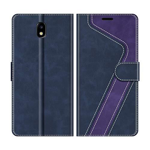 MOBESV Funda para Samsung Galaxy J5 2017, Funda Libro Samsung J5 2017, Funda Móvil Samsung Galaxy J5 2017 Magnético Carcasa para Samsung Galaxy J5 2017 Funda con Tapa, Azul Oscuro/Violeta