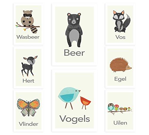 Children Inspire Design art de pépinière de ferme jeu néerlandais - animaux de la ferme vintage - de huit cartes de mur de 5 x 7 pouces, pépinière décor, décor de salle de jeux