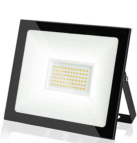 Faretto LED da Esterno 50W 5000LM Bianco caldo 3000K,Impermeabile IP66, Faro LED Proiettore per Giardino, Parcheggio, Corridoio, Cortile