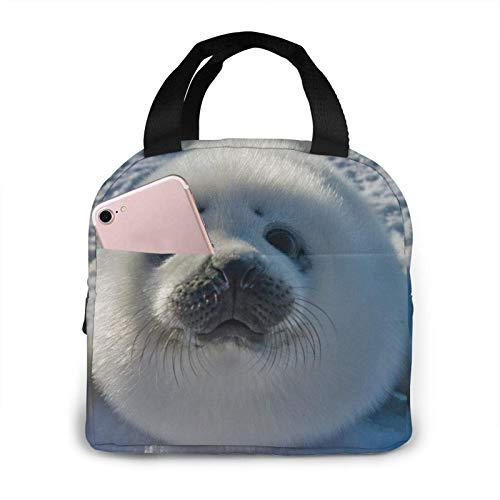 Jupsero Geïsoleerde lunchtas, schattige babyzegel lunchbox, draagbare lunchbox draagtas voor vrouwen, mannen, kinderen, kantoor, werk, school, picknick, wandelen, reizen