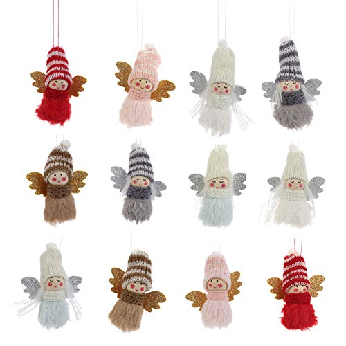 12pcs Christmas Plush Angel Girl Hanging Ornaments- Xmas Mini Cute Elves Doll Pendant with Glitter Wings in 6 Colors Christmas Tree Elves Decor Hangable Angel Figurines for Home Party Birthday Present