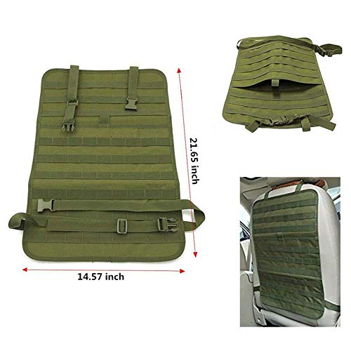 Haoyipu Car Seat Back Organizer, Tactical MOLLE Vehicle Panel Car Seat Cover Protector Universal Fit (Green)
