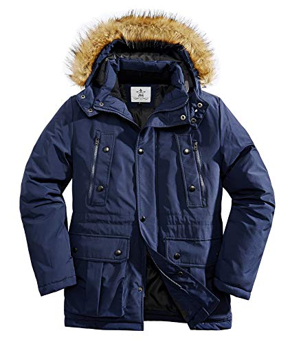 JYG Men's Winter Thicken Coat Warm Parka Jacket with Removable Hood