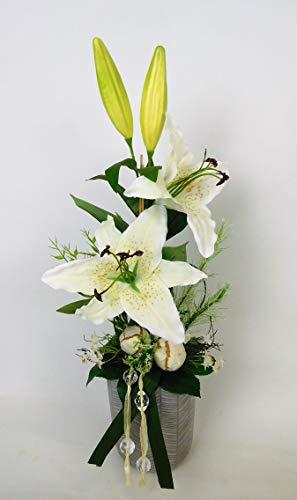 Blumengesteck Tischgesteck Tischdeko Lilie Schmucklilie Kunstblume Dekoblume künstlich Kunst Blume unecht Topf H 50 cm weiß 129