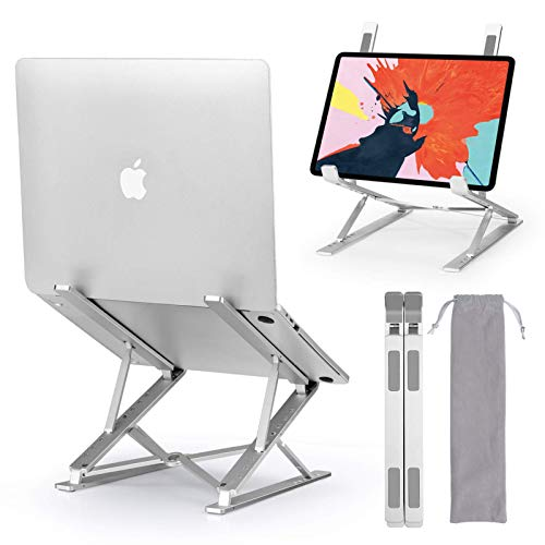 LEHOM Laptop Stand, Adjustable Aluminum Computer Holder, Foldable Portable Notebook Laptop Stands Riser for Mac MacBook Pro Up to 15.6inch (UP to 17.3INCH LAPTOPS)