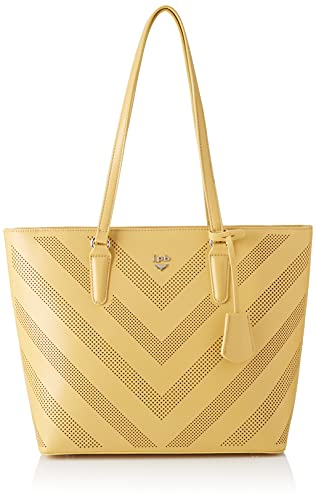 LPB Les Petits Bombes, Brown, Handbag, Women, Yellow, Medium