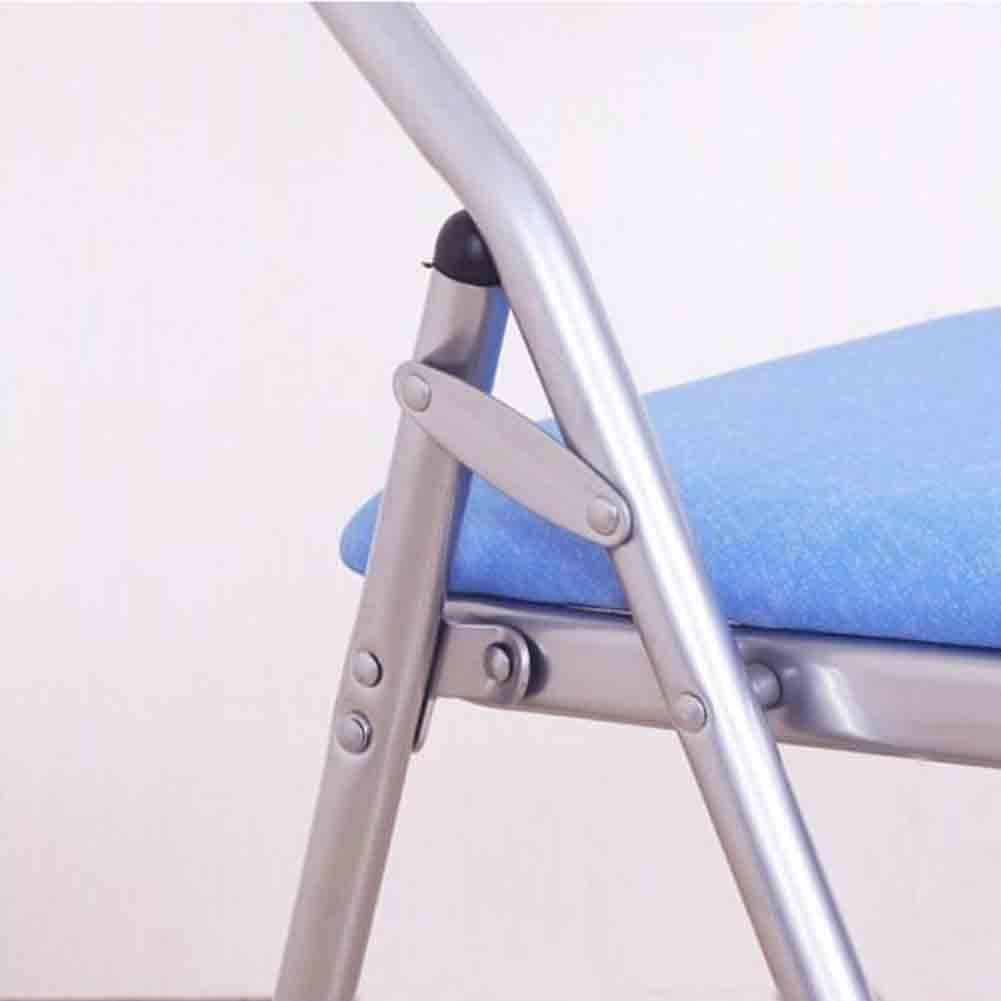 GLJJQMY Chaise de Salle à Manger 2 pièces Ensemble Chaise Pliante Chaise en Tissu décontracté Ordinateur de Bureau Chaise de Salle à Manger Chaise empilable (Color : Black) Blue