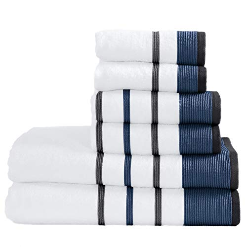 100% Turkish Cotton Striped Bath Towels, Luxury 6 Piece Set - 2 Bath Towels, 2 Hand Towels and 2 Washcloths. Highly Absorbent Quick-Dry Towels (6 Piece Set, Moroccan Blue / December Sky)