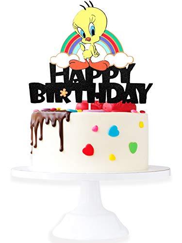 Cartoon Tweety Birthaday Cake Topper - Baby Shower Adorable Looney Tunes Glitter Tweety Bird Cake Supplies - Boys Girls Happy Birthday Party Decorations