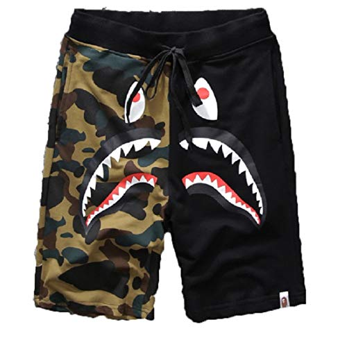Big Mouth Shark Ape Bape Camo Mens Casual Sports Pants Fashion Jogger Shorts DP-1black L