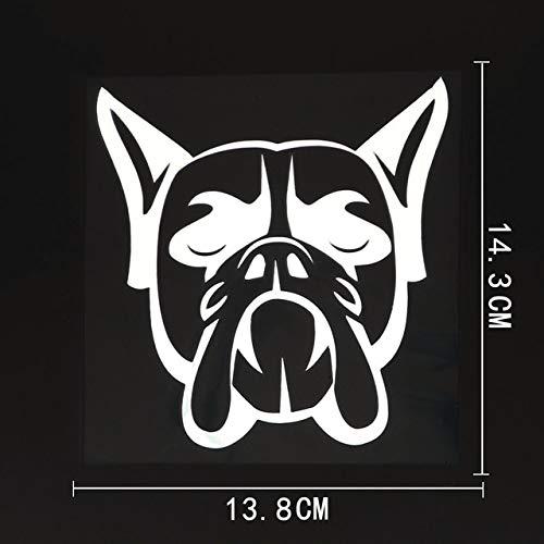 FAFPAY Sticker de Carro 13.8cmx14.3cm Divertido Boxer Dog Head Vinilo Etiqueta Engomada del Coche Impermeable Dblack Negro/Plata 8a-0014Plata